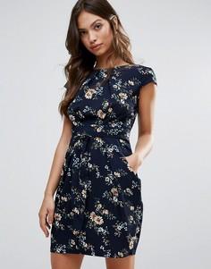 Платье-тюльпан с принтом QED London - Темно-синий