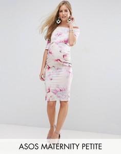 Платье бардо с укороченными рукавами и цветочным принтом ASOS Maternity PETITE - Мульти