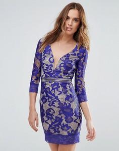 Кружевное платье мини с V-образным вырезом Little Mistress - Синий
