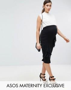 Облегающее платье с оборками ASOS Maternity - Черный