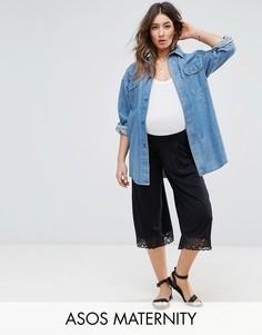 Широкие укороченные кружевные брюки ASOS Maternity - Черный