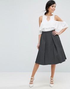 Жаккардовая юбка мини цвета металлик Closet London - Черный