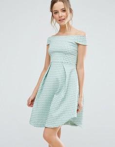 Фактурное короткое приталенное платье Closet London - Мульти
