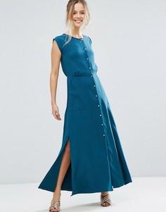 Платье макси на пуговицах Closet London - Зеленый