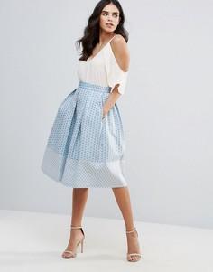 Приталенная юбка миди Closet London - Синий