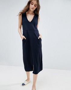 Вязаное платье с V-образным вырезом и карманами ASOS - Темно-синий