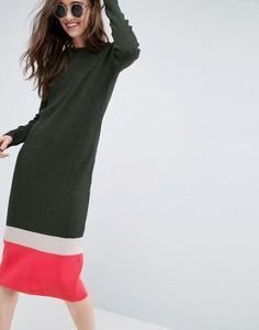 Платье в рубчик в стиле колор блок ASOS - Зеленый