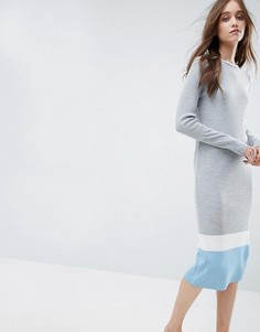 Платье в рубчик в стиле колор блок ASOS - Серый