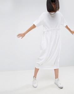 Трикотажное платье-футболка миди с контрастной оборкой ASOS WHITE - Белый