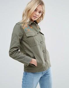Куртка с вышивкой Brave Soul - Зеленый