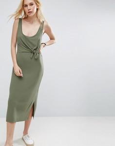 Платье-майка с укороченным верхним слоем на лифе ASOS - Зеленый