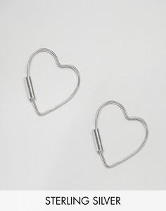 Серьги-кольца с контурным сердцем Kingsley Ryan - Серебряный