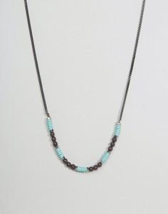 Серебристое ожерелье-цепочка с бусинами Icon Brand - Мульти
