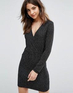 Облегающее платье с длинными рукавами Wal G - Черный