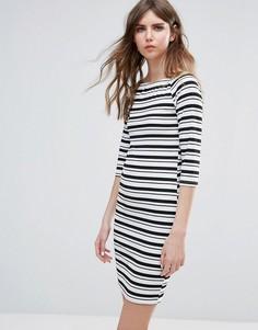 Облегающее платье в полоску Ichi - Черный