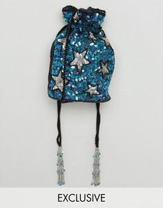 Синяя сумка через плечо с отделкой ручной работы From St Xavier X How Two Live - Синий