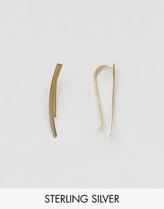 Золотистые серьги из серебра с гладкой планкой ASOS - Золотой
