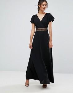 Платье макси со вставкой из кроше на талии New Look - Черный