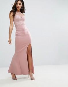 Платье макси с кружевной отделкой и пайетками Michelle Keegan Loves Lipsy - Коричневый