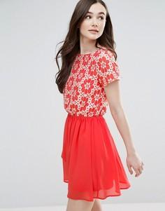 Короткое приталенное платье с цветочным принтом и шифоновой юбкой Pussycat London - Розовый