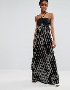 Платье макси с лямкой через шею Pussycat London - Черный