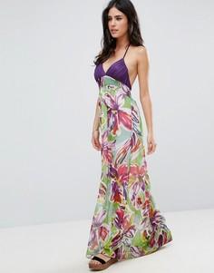 Платье макси с цветочным принтом и завязкой на шее Pussycat London - Мульти