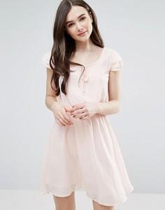 Короткое приталенное платье с завязками Pussycat London - Розовый