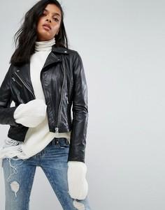 Кожаная куртка со стеганой отделкой Barneys - Черный