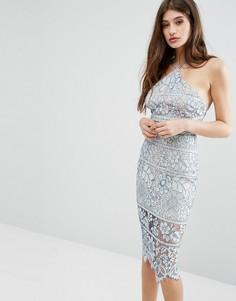 Кружевное облегающее платье миди Boohoo - Синий