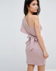 Платье на одно плечо с оборкой и завязкой на спине Club L - Фиолетовый