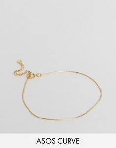 Серебряный позолоченный браслет-цепочка ASOS CURVE - Золотой