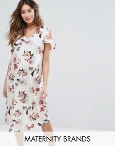 Платье с цветочным принтом и оборками Bluebelle Maternity - Розовый
