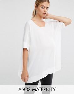 Свободная футболка‑кимоно для беременных с V‑образным вырезом сзади ASOS Maternity - Белый