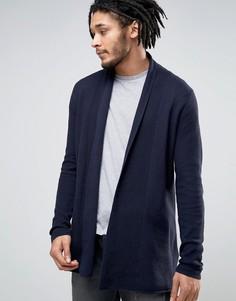 Кардиган из 100% хлопка с драпировкой Esprit - Темно-синий