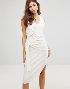 Платье в рубчик с поясом Lavish Alice - Белый
