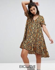 Платье миди с принтом под змеиную кожу Milk It Vintage - Коричневый