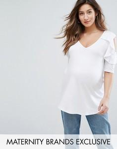 Топ с вырезами на плечах и рюшами Bluebelle Maternity - Белый