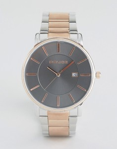Часы с коричневым циферблатом и браслетом с серебристой и золотистой отделкой Police - Серебряный