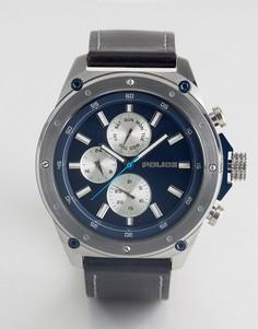 Часы с синим кожаным ремешком и многофункциональным циферблатом Police - Черный