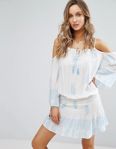 Пляжное платье с открытыми плечами и принтом Surf Gypsy - Мульти