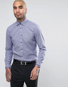 Строгая узкая рубашка в ломаную клетку Lambretta - Темно-синий