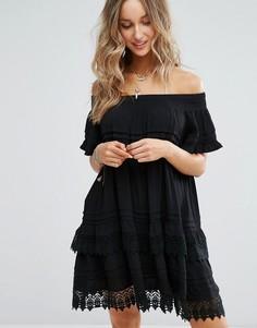 Черное пляжное платье со спущенными плечами Surf Gypsy - Черный