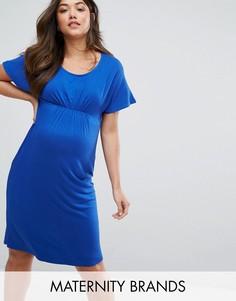 Присборенное трикотажное платье Mamalicious - Синий Mama.Licious
