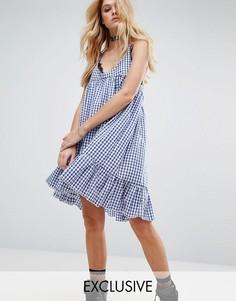 Платье в клеточку на тонких бретельках с оборкой на подоле Milk It Vintage - Синий