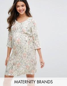 Платье с цветочным принтом и контрастными полосками Mamalicious - Кремовый Mama.Licious