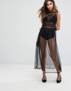 Сетчатое платье макси Miss Selfridge - Синий