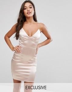 Атласное платье мини Club L - Розовый