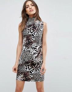 Цельнокройное платье мини с леопардовым принтом и присборенным воротником ASOS - Мульти