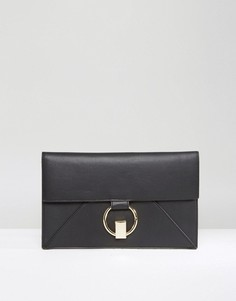 Плоский клатч с кольцом ASOS - Черный