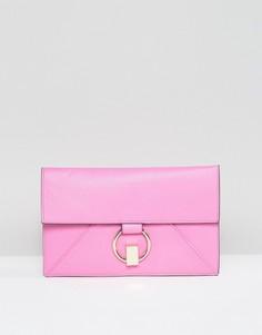 Плоский клатч с кольцом ASOS - Розовый